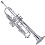"190S43 Strad Pro Bb Trumpet, Silver Plated, .459"" Bore, #25 Leadpipe, #43 Yellow Brass Bell, Monel Pistons, 2 Piece Valve Casing, 1st Slide Thumb Saddle, Brass & Plastic Valve Guides, 3C Mouthpiece, Case"