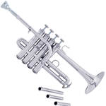 "AP190S ""Artisan"" A/Bb Piccolo Trumpet, Silver Plated, .450"" Bore, 4"" One-Piece Hand Hammered Bell with Flat Rim, Special Bell Treatment, 4 Monel Pistons, Brass & Plastic Valve Guides, 4 Mouthpipes (2 Cornet/2 Trumpet), No Mouthpiece, Case"